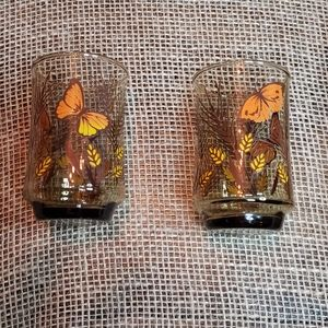 Set of 2 Vintage Small Butterfly Glasses
